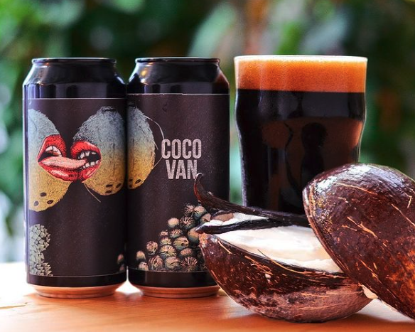 Cocovan cans and a glass of beer professional labels