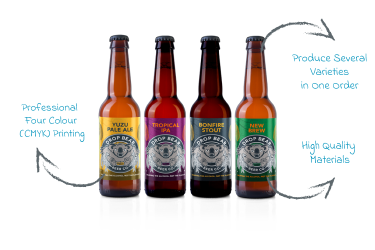 4 bottles with different label designs