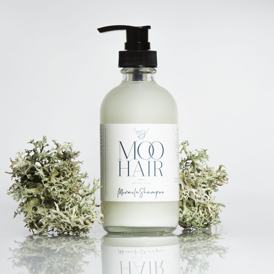 Moo Hair Miracle Shampoo Glass Bottle Digital Label Printing
