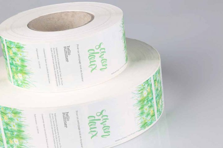 chemical labels on rolls for machine application