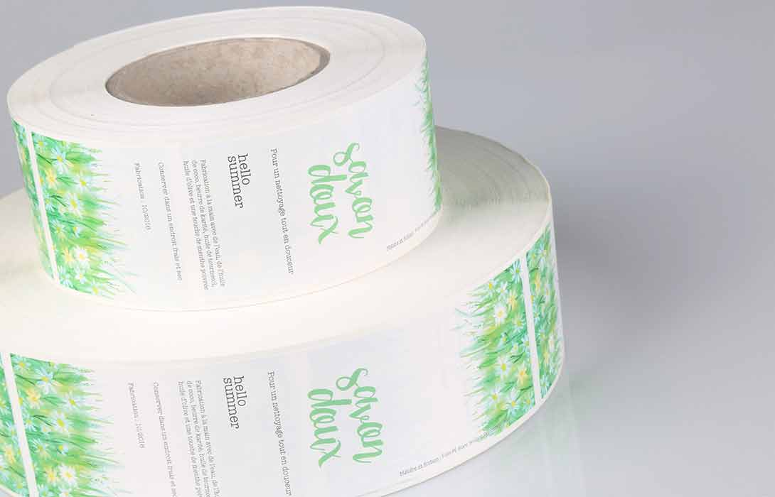 custom product labels printed on rolls of different sizes