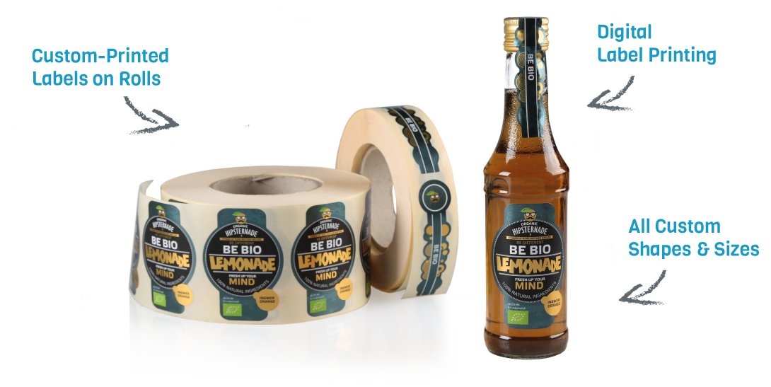 roll labels for bottles and packaging. Custom printed. custom printed labels on rolls.
