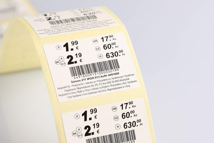 technical labels with barcodes